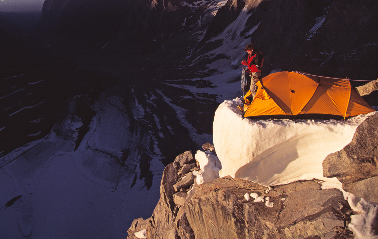 camping on mountain ledge